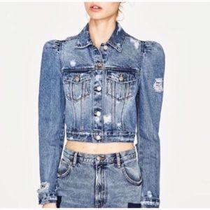 Zara Puff Sleeve distressed Jean Jacket
